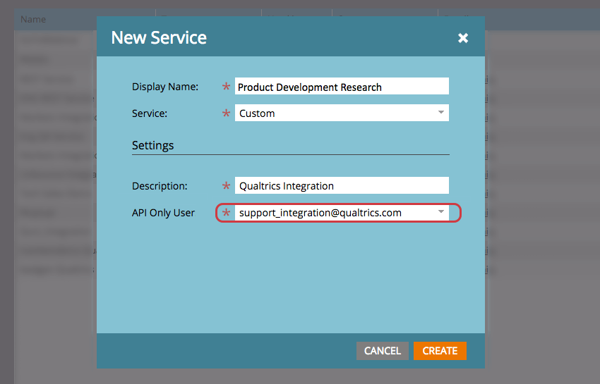 Name, Description, API only for New Service