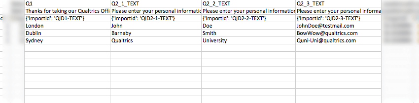 CSV data of text entry responses, all the exact text respondents entered