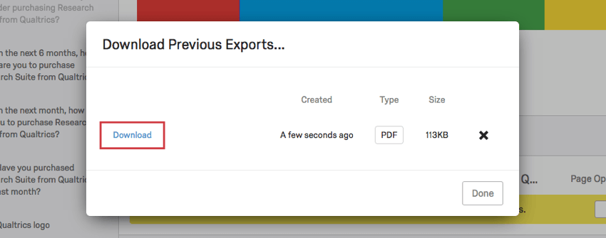Download button on the Download Previous Exports window