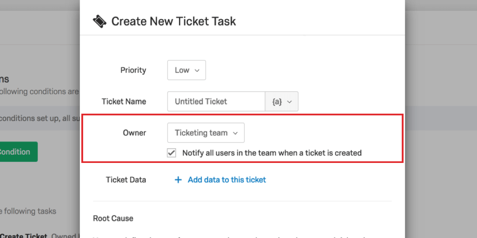 Owner section in Create New Ticket Task menu