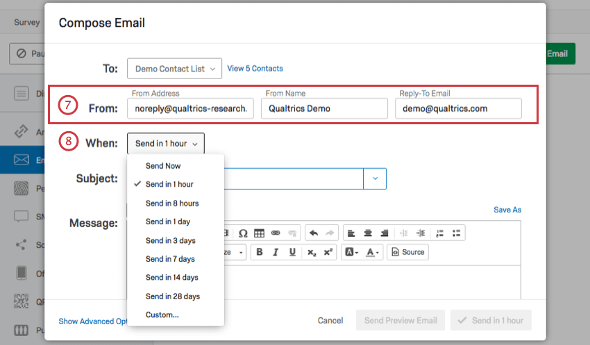 From Address, From Name, and Reply-To Email, and When to Send options