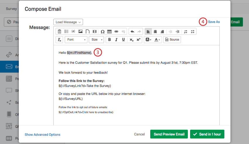 Example of Piped Text for first name in email message