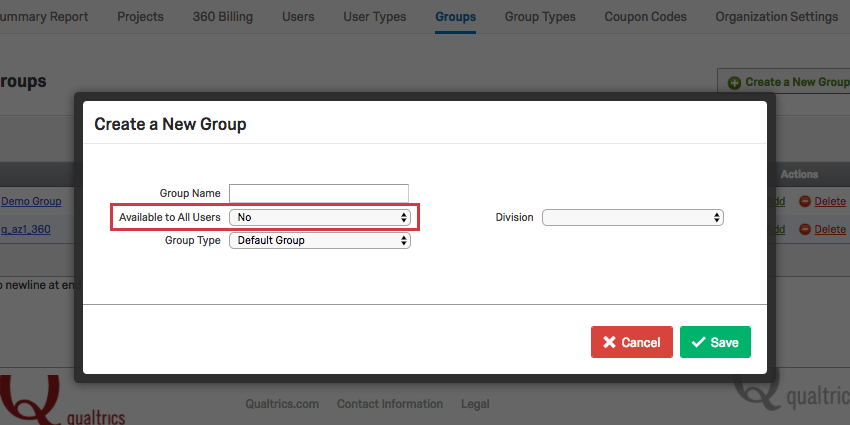 The Create a New Group window with Available to All Users set to No