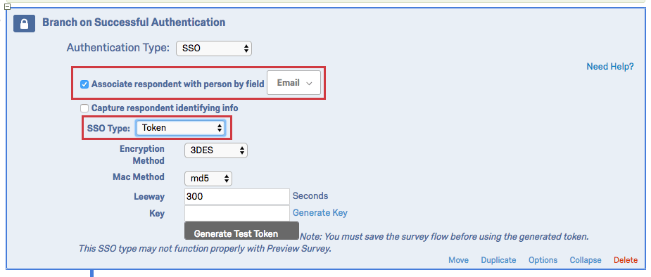 Authenticator set to SSO with the option Associated respondent with person by field set to Email