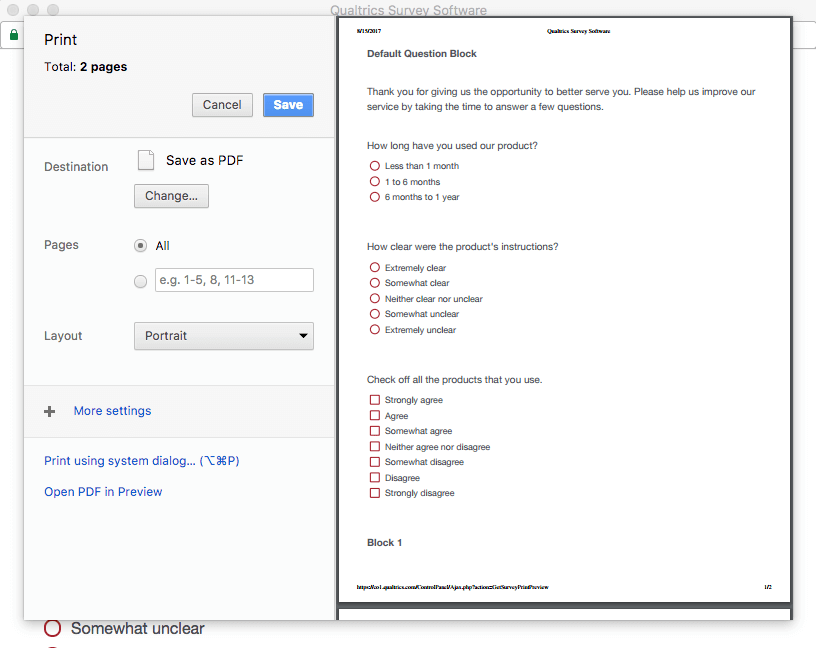 Save to a PDF selected on the Print Preview window