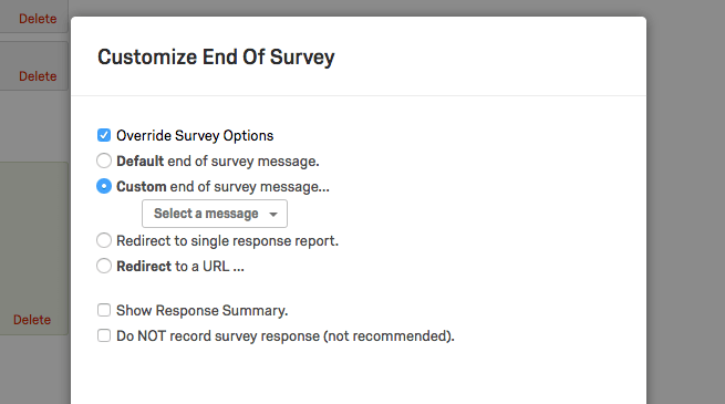 Customize end of survey options