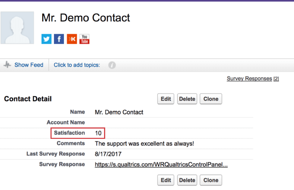 Demo contact page in Salesforce