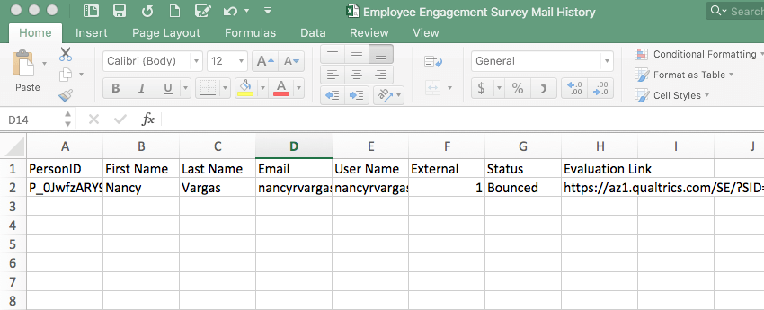 Excel spreadsheet showing distribution history