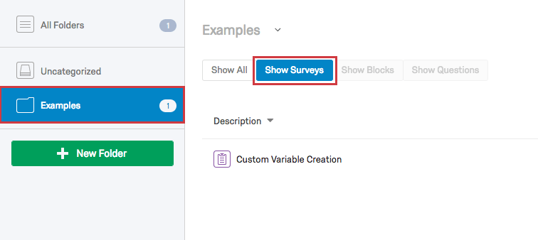 Examples Folder on lefthand pane with Show Surveys option selected