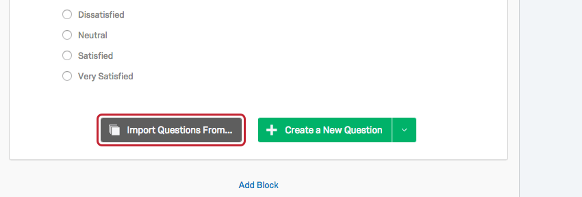 Import Questions From button on the bottom-center of every block