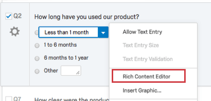 Editing the text of a choice and clicking the dropdown to get the Rich Content Editor