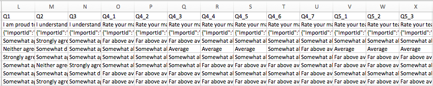 Question data columns in an Excel spreadsheet