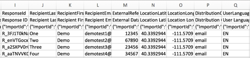 CSV file with columns for ResponseID, RecipientEmail, ExternalDataReference, LocationLatitude, LocationLongitude, Distribution, and UserLanguage