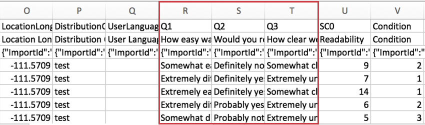 CSV file wth Q1, Q2, and Q3 columns highlighted