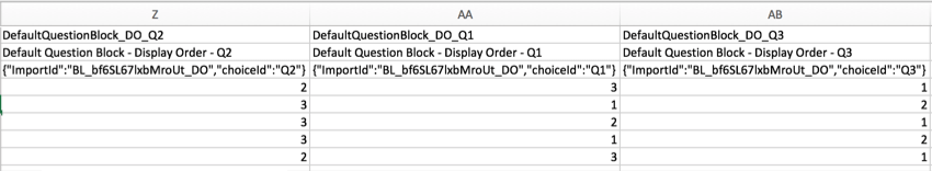 CSV file with block order columns