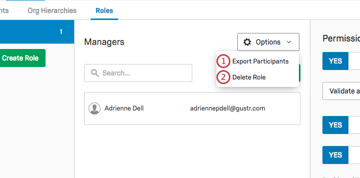 Options button opens to reveal Export Participants and Delete Role