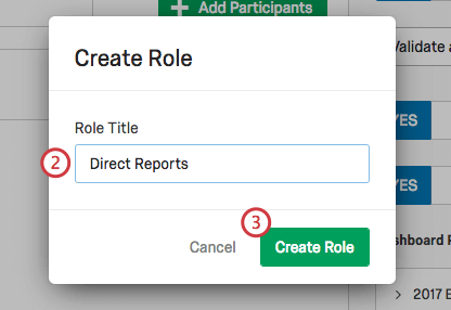 Create Role window asks you to name the role