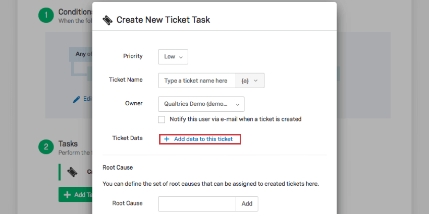 Add data to this ticket option