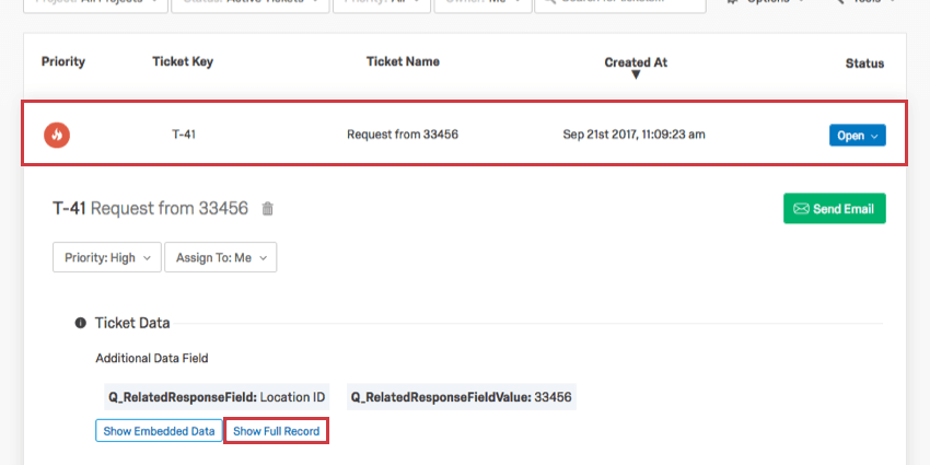 Show Full Record option within Expanded ticket