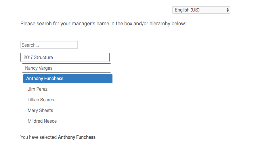 an org hierarchy question where an employee's name is selected