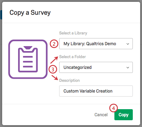 Copy a Survey menu with options to select a Library, Folder, and add a Description