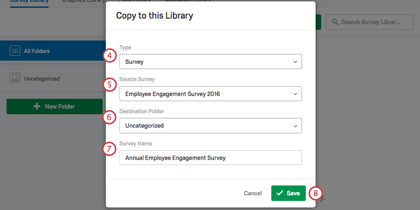 copy to this library window, with numbered fields