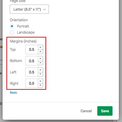at the bottom of the page settings, fields for all sides of the margin