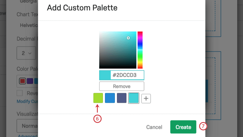 create button on bottom-right of add custom palette window