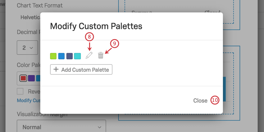 edit and delete buttons next to new color palette