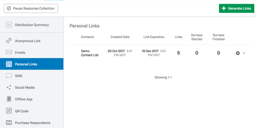 Personal Links page of Distributions tab with one distribution listed