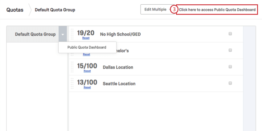 In upper-right of Quota window, Click here to access Public Quota dashboard