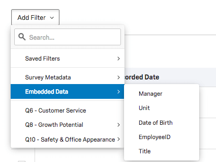 Filter options within the Data tab