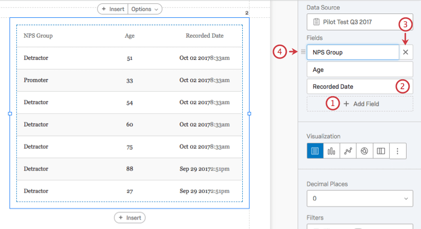 drag and drop, delete, rename, and add field options highlighted