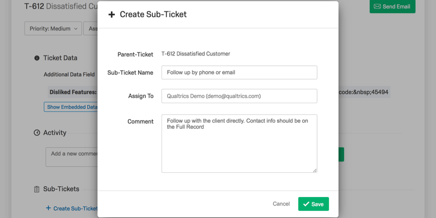Create Sub-Ticket menu