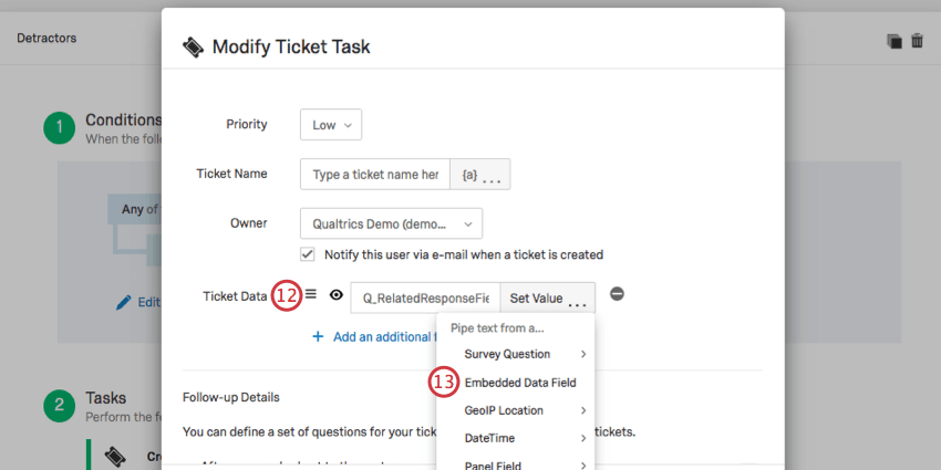 Enter Q_RelatedResponseField in Ticket Data section
