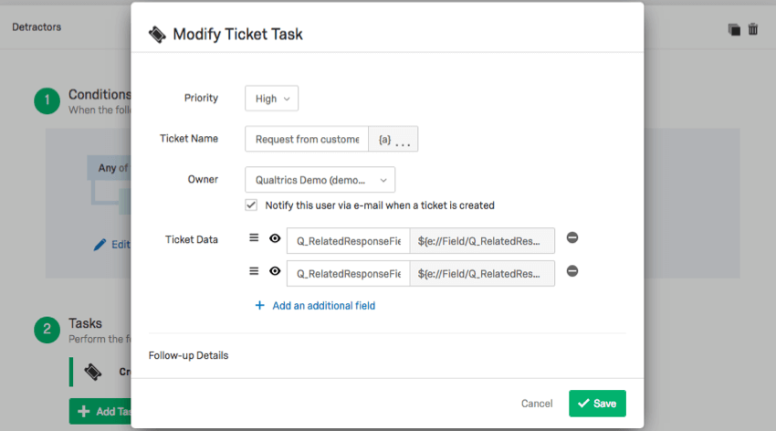 Modify Ticket Task menu