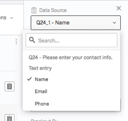data source for a form text entry shows you can individually choose each option separately (eg, name, email, phone)
