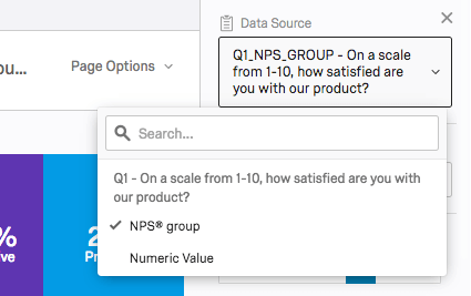 for nps question's data source, you can select nps group or numeric value