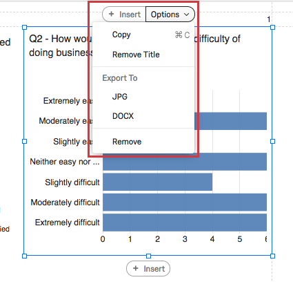 Options button on a visualization expanded