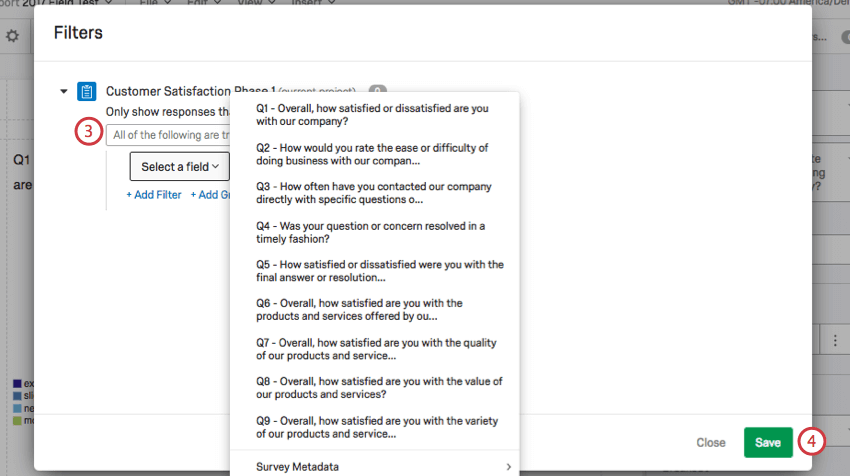 Select a field in Filters window expanded to show a list of questions and Survey Metadata