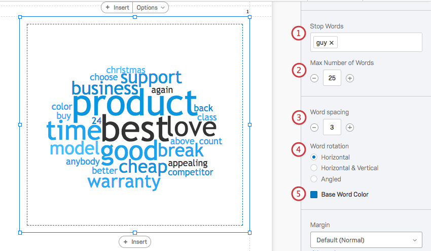 word cloud selected with the editing pane options numbered on the right