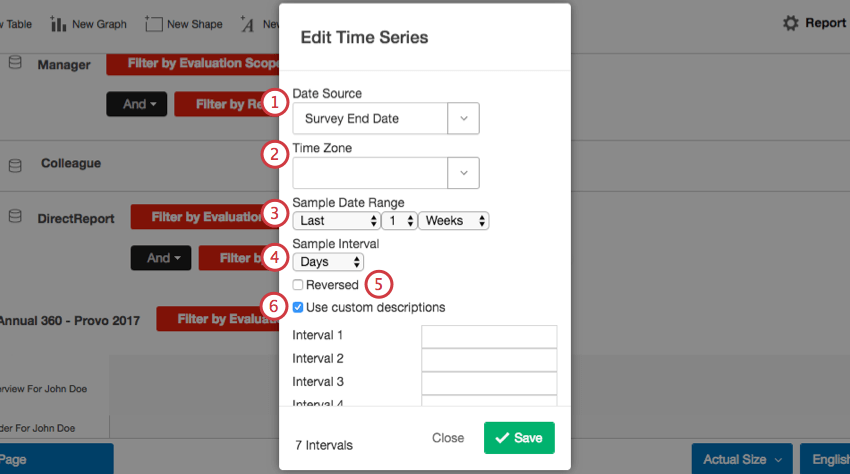 Adding settings for a time series