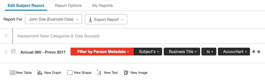 Filter by Person Metadata Subject's Business Title is Accountant
