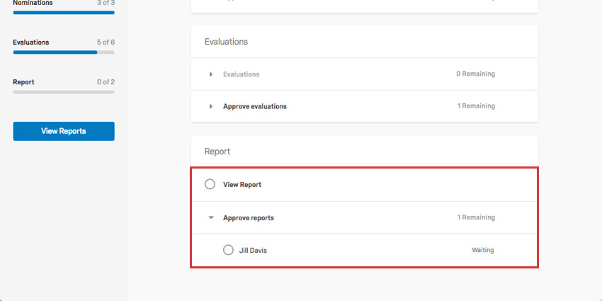 Status section for being able to view your subject report