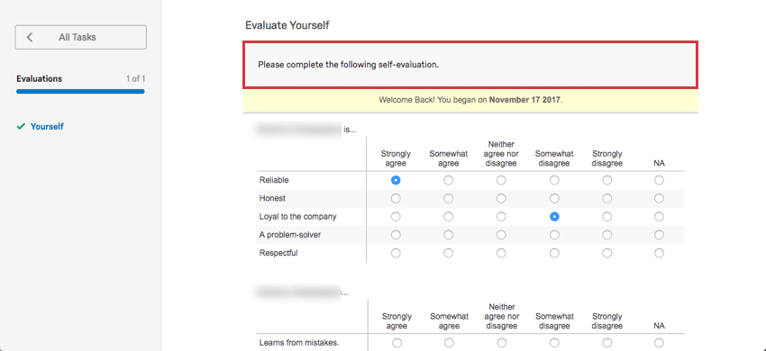 Evaluate self message displayed in the Participant Portal