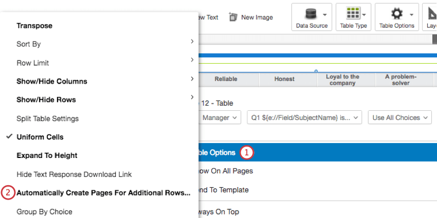 Automatically create pages for additional rows option within the table options dropdown menu