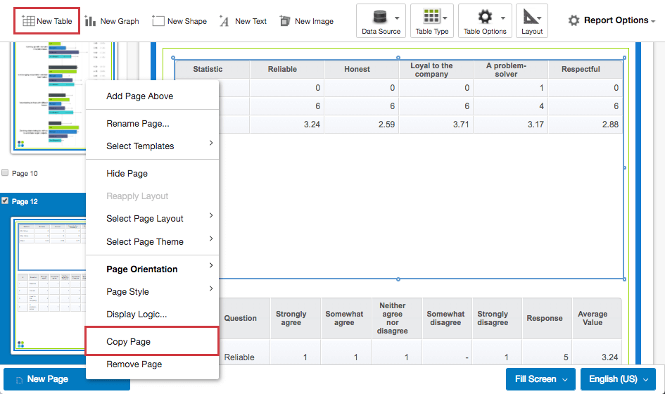 Copy page option in a subject report