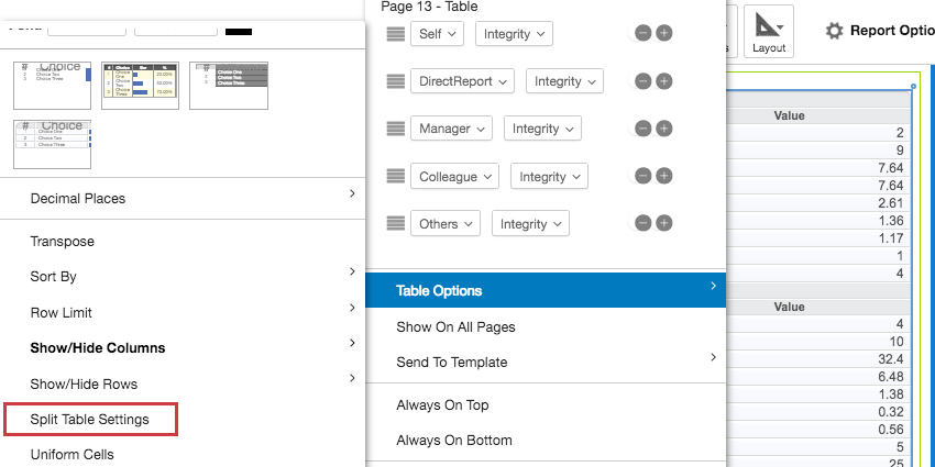 Selecting the Split Table Settings option within the Table Options dropdown settings