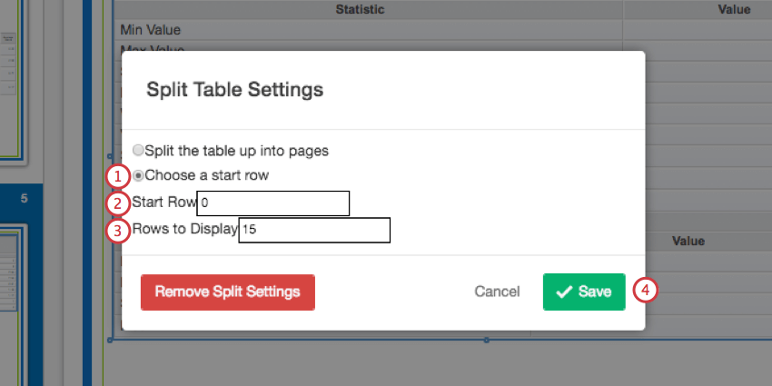 Specifying a a start row in the split table settings window