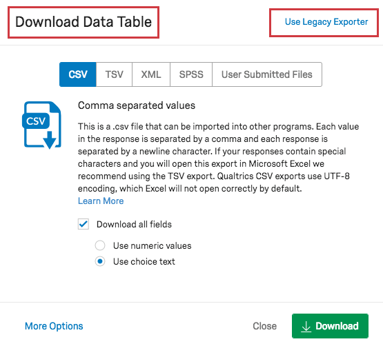 Data Export Options - Qualtrics Support